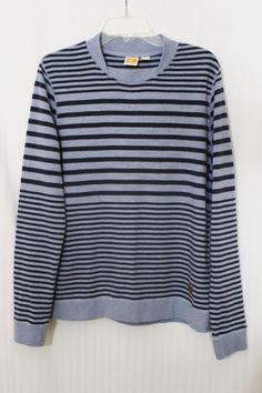Hugo Boss Orange Crew Neck Long Sleeve Stripe Light Blue Gray Tee T-Shirt  Size