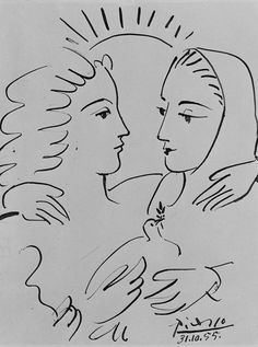 Pablo Picasso Women With A Dove 1955 T Shirt, Artwork Sketch Mini Art Print by Art-O-Rama Shop - Without Stand - x Desenhos Pablo Picasso, Pablo Picasso Drawings, Picasso Sketches, Kunst Picasso, Art Picasso, Picasso Paintings, Art Sketches, Oil Paintings, Landscape Paintings