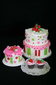 Strawberry shortcake two tiered, smash cake and cupcakes