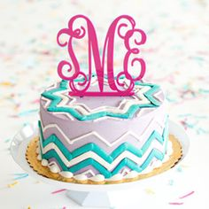 6449a40af54555 Make her Birthday EXTRA special with Monogrammed Acrylic Cake Topper from United  Monograms! Cake Toppings