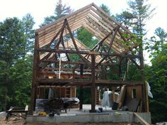 Rafters installed on barn.