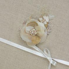 Totale or mariage fleur casque nuptiale Bridal par LeFlowers