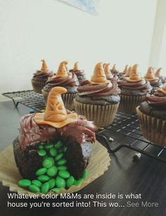 Idea for a Harry Potter themed party! You make the sorting hat out of caramel and put red, blue, yellow or green m&m's. Whichever color m&m's is your house!