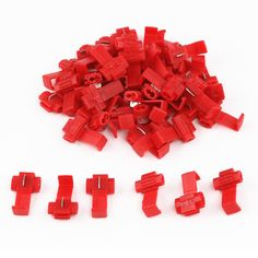 50PCS Quick Splice Scotch Lock 22-18 AWG Wire Connectors Red Insulated Electrical Cable Crimp Terminals 0.5 - 1.0mm2
