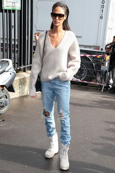 Pin for Later: Joan Smalls Is Having the Time of Her Life During Paris Fashion Week Arriving at Miu Miu