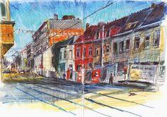 Urban Sketchers: Everyday Street Scenes, from Ghent, Belgium