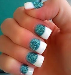 Blue with White Tips Nails | tiffany blue glitter & white tip nails | Nails