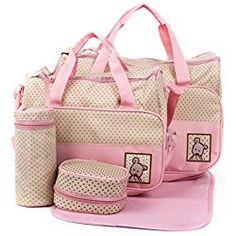 Multi function Baby Travel Diaper Tote Bag,Pink