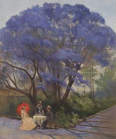 R Godfrey Rivers / England/Australia QLD / Under the jacaranda 1903 / Oil on canvas / x / Purchased 1903 / Collection: Queensland Art Gallery Gallery Of Modern Art, Art Gallery, Art Society, Wow Art, Australian Artists, Australian Painters, Landscape Art, Trees To Plant, Thing 1