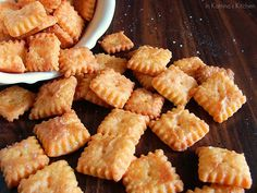 Homemade Cheez-Its: These are basically cheese straws, but the use of a wiggly pizza cutter and toothpick to make them look just like Cheez-Its is really clever! My kids love Cheez-Its, and I hate all the crap in them--maybe we'll make these!