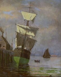 American School, 20th Century View of a Ship at Harbor. Unsigned. Oil on canvas, 20 1/8 x 16 in., framed. Condition: Retouch, craquelure. Estimate $600-800
