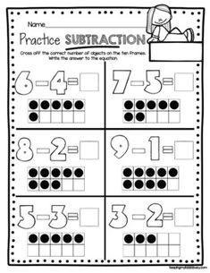 Addition and Subtraction Worksheets - FREE - Math Center S Subtraction Kindergarten, Addition And Subtraction Worksheets, Subtraction Activities, Free Kindergarten Worksheets, Math Activities, Numeracy, Kindergarten Addition, Subitizing, Kindergarten Fun