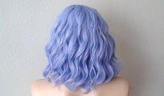 Pastel lavender blue beach wavy wig. Short curly/wavy by kekeshop