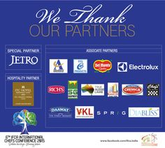 We are proud to announce the sponsors for the 6th IFCA INTERNATIONAL CHEFS CONFERENCE 2015!. We'd like to take this opportunity to thank them for their support! If you still haven't registered, for registrations call: +91 89398 55510 or +91 89398 55520  You can also mail us at congress@ifcaindia.com. #chefs #cook #recipes #ITC #Chennai #foodart #chefsart #finedining #chefsmeet #conference #culinary #chefstalk #kitchen #professionals #restaurants #foodculture #foodfest #IFCA2015