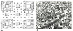"The fractal pattern of self-organizing urbanism. On the left is a simple fractal pattern called a ""Cantor Gasket"" (Drawing by Nikos Salingaros). On the right is a much more complex and irregular pattern with recognizably similar fractal properties, a traditional urban neighborhood in Baghdad, Iraq. Notice the similar patterning at different scales of bordering spaces and alternating patterns of indoor-outdoor space (Photo: G. Eric and Edith Matson Photograph Collection, Library of Congress)."
