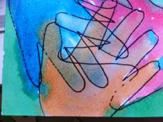Collaborative Watercolor Paintings - friends trace each other's hands and paint together