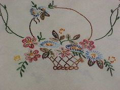 Vintage-Antique-Embroidered-Linen-Tablecloth-31x34-Silky-Floss-Woven-Lace-Edge