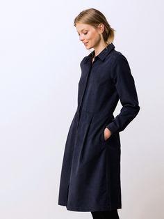 Robe chemisier velours milleraies, GRETNA GRIS SOURIS+MARINE