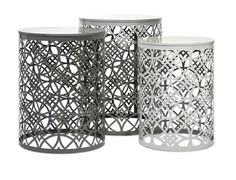 IMAX Harper Accent Tables - Set of 3 - This set of three metal accent tables feature geometric pattern cut outs and soft shades of gray to fit well with a variety of interiors.