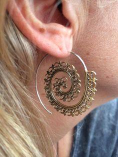 Gold Gypsy Earrings Handmade for Sale in Nashville, TN - OfferUp Indian Earrings, Tribal Earrings, Statement Earrings, Brass Jewelry, Ethnic Jewelry, Unique Jewelry, Filigree Jewelry, Jewellery, Indian Jewelry