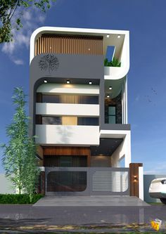 3 Storey House Design, Bungalow House Design, House Front Design, Narrow House Designs, Modern Small House Design, Cool House Designs, Residential Building Design, Home Building Design, Home Design
