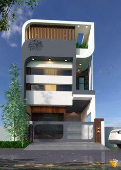 Narrow House Designs, Modern Small House Design, Townhouse Designs, Bungalow House Design, House Front Design, Minimalist House Design, Dream Home Design, Residential Building Design, Home Building Design