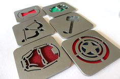 Avengers Coaster set of 6 Steel Ironman Captain by ApocalypseFab, $45.00