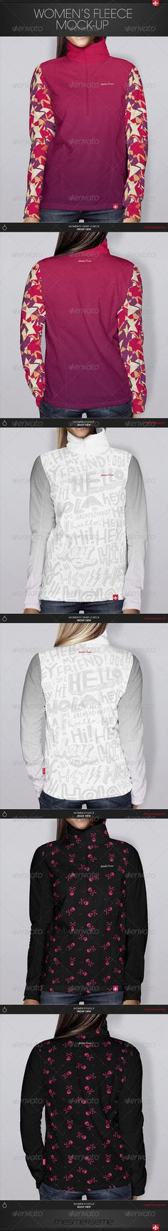 Women's Fleece Mock-up  #GraphicRiver         Women's Fleece Blouse Mock-up   4 psd files 1539×1786 px 72 dpi (2 displacement maps);  front and back view;  You can choose between 3 color modes of material: bright colors, hue colors and dark colors and pick your own color or gradient on: neck material, corps material and sleeves material;  You can put your own design using smart objects and displacement maps. You can make it on front and back side: on neck material, corps material and sleeves…