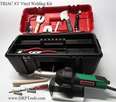 TRIAC ST Basic Welder Tool Kit includes. If you need you order expedited fast Next Day, 2nd Day please visit our other side Leister Hot Air Vinyl Welding Kit  Leister TRIAC ST W/Pencil Nozzle 4MM Round Speed Nozzle 5MM Round Speed Nozzle Ram Rod Special Feed Roller Spatula Knife Trim Plate Knife Diamond Sharpening Pad Welder Tool Rest Stand Carrying Case