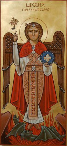 Archangels Micheal Coptic Orthodox St Michael, Archangels, Orthodox Icons, Medieval Art, Archangel Michael, Christian Art, Art Icon, Angel Art, Sacred Art