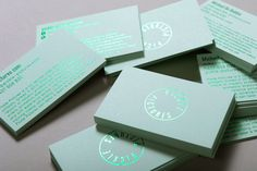 Pickle Pictures business cards with coloured paper and green foil detail designed by SilentPartner.