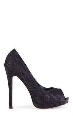 Deb Shops Low Platform Lace Heel with Glitter Underlay $27.00
