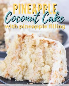 This tender and moist cake is the absolute best pineapple coconut cake recipe. It's tender and moist with a rich homemade pineapple filling between the layers. All topped with fluffy white frosting. Coconut Pineapple Cake, Pineapple Desserts, Pineapple Filling For Cake, Coconut Cakes, Whipped Cream Cheese Frosting, White Frosting, Best Nutrition Food, Proper Nutrition, Nutrition Guide