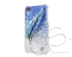 Feather Bling Swarovski Crystal Phone Case - Blue  http://www.dsstyles.com/brands/feather-bling-swarovski-crystal-phone-case-blue.html