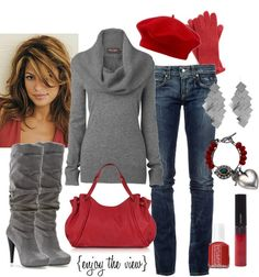 scarlet and gray outfit