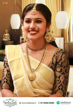 bridal jewelry for the radiant bride Wedding Saree Blouse Designs, Saree Wedding, Wedding Wear, Onam Saree, Kerala Saree, Beautiful Saree, Beautiful Bride, Kerala Bride, Indian Jewellery Design