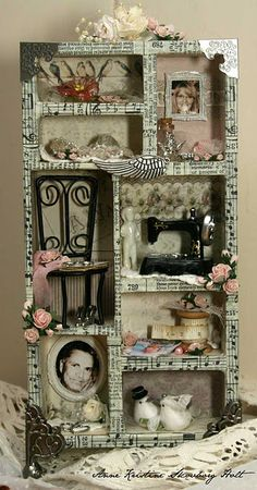 I like the box form have to be carefull it doesn& look to crafty. What is the differance between craft and art anyway? Altered Tins, Altered Art, Diy And Crafts, Arts And Crafts, Paper Crafts, Decoration Shabby, Little Presents, Shadow Box Art, Creation Deco