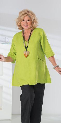 Kasbah lime linen short sleeve pocket top at Box 2