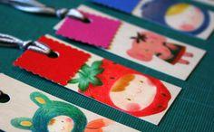 Marquepage illustré & fruité  fraise  rouge par pergelisol sur Etsy, €2,00 // strawberry mini bookmark illustration