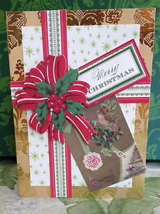 """Handmade Anna Griffin Holiday Trimmings Vintage """"Merry Christmas"""" Greeting Card"""
