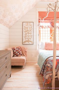 Fresh Ideas for Fall Home Tour! - Addison's Wonderland Inside our pre-teen daughter's chic bedroom renovation! Features white shiplap walls, brass sputnik chandelier lighting, orange and peach accents and Shaw whitewashed hardwood flooring. Daydream wallpaper on the ceiling and white tree bed add the perfect touch of whimsy to this beautiful space.