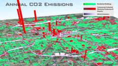 Arizona State University researchers create mapping technology that shows a city's carbon emissions at street level. Sustainable City, Arizona State University, Carbon Footprint, Urban Landscape, Global Warming, Climate Change, Sustainability, 3 D, Environment