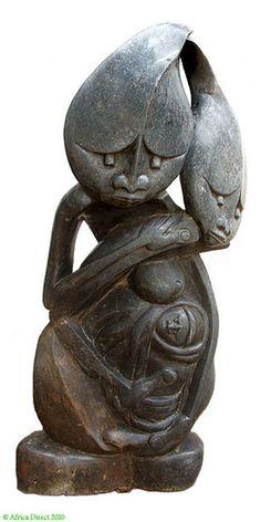 Shona Stone Sculpture Family 4 Feet Zimbabwe  African