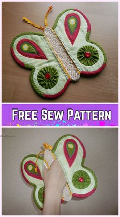 Quilted Butterfly Potholder Sew Free Pattern