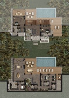Mandarin Oriental Bodrum, Villas for sale in Bodrum, Turkey Pool House Plans, Sims House Plans, Courtyard House Plans, House Layout Plans, Dream House Plans, House Layouts, Architectural Floor Plans, Modern Villa Design, Model House Plan