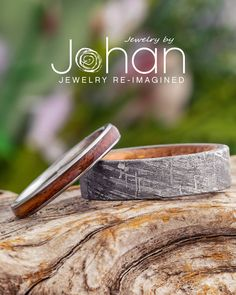 Whiskey barrel oak wood gives any wedding band a unique, nature-inspired style. #JewelrybyJohan Whiskey Barrel Wedding, Jack Daniels Whiskey Barrel, Barrel Rings, Wood Rings, Nature Inspired, Wedding Bands, Unique, Style, Wooden Rings