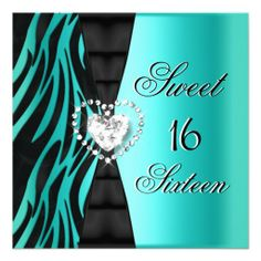 Sweet 16 Sixteen Birthday Party Zebra Teal Blue Personalized Invitation