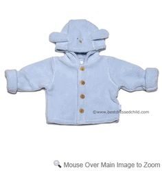 LeTop Layette Baby Boys Light Blue Plush Hooded Jacket - Puppy Dog Face & Ears