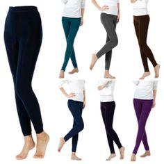 Womens Winter Fall Warm Basic Leggings Full Length Soild Tights Pants Trousers