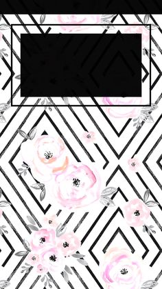 Flower geometric iPhone wallpaper - time background in black.